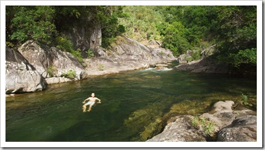 Sam taking a dip in the chilly waters of Behana Gorge