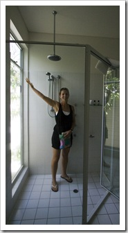 Lisa very pumped on our double-headed shower