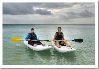 Jenni and Lisa paddling the waters of Anchor Bay