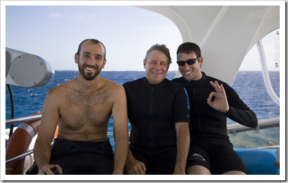 Sam, Steve and Oliver ready for a dive at Cod Hole