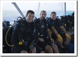 Oliver, Sam and Steve ready for a SCUBA dive at Cod Hole