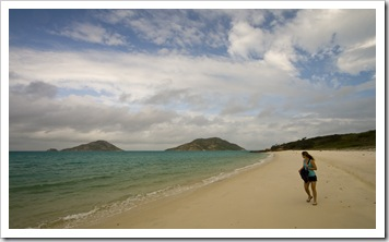 Lisa walking along Mangrove Beach on the way to Blue Lagoon