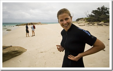 Lisa happy with her wetsuit bust!