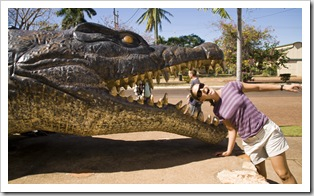 Lisa and a huge crocodile in Normanton