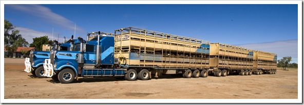 Huge cattle road trains at the Burke and Wills Roadhouse