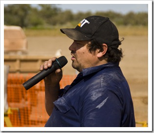 MC for the wood chopping events