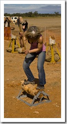 Winner of the womens wood chopping at the Bedourie camel races