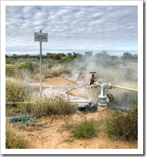 Piping hot pressurised water at the Cacoory Bore north of Birdsville