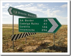 Turn-off to Cordillo Downs
