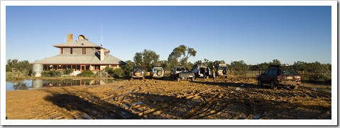 The National Parks and Wildlife Service building and stranded 4WD vehicles in Innamincka on Wednesday morning