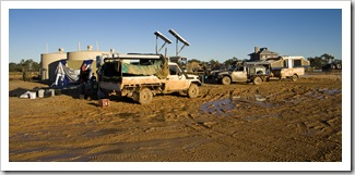 Stranded 4WD vehicles next to the phone booths in Innamincka on Wednesday morning